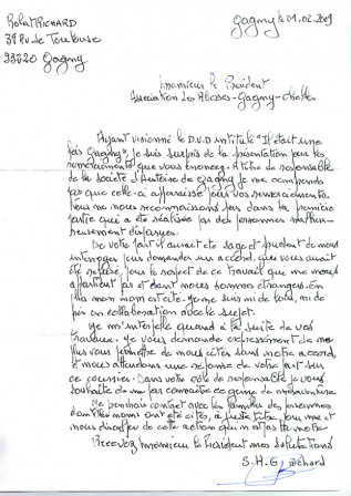 La lettre de Mr Robert Richard du 10022009