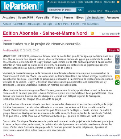 Article du Parisien du 30/09/2009